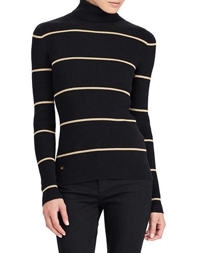 Lauren Ralph Lauren Stretch Cotton Turtleneck Sweater-BLACK-Large 89649730_BLACK_Large