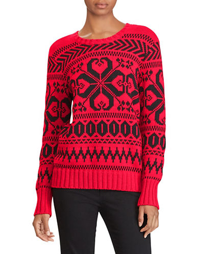 Lauren Ralph Lauren Cotton Graphic Sweater-RED-Large