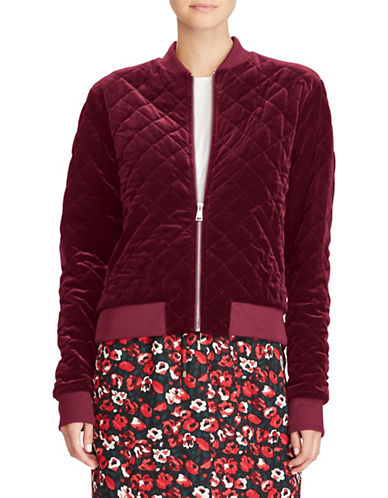 Lauren Ralph Lauren Quilted Velvet Bomber Jacket-RED-Medium