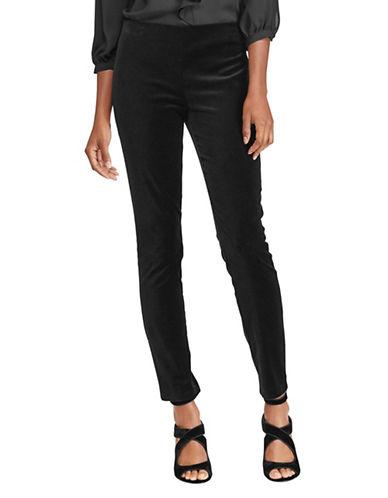 Lauren Ralph Lauren Petite Stretch Velvet Hi-Rise Skinny Pants-BLACK-Petite 10