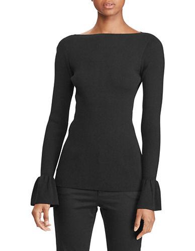 Lauren Ralph Lauren Petite Bell Cuff Rib Sweater-BLACK-Petite Large