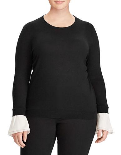 Lauren Ralph Lauren Plus Silk-Blend Crew Neck Sweater-POLO BLACK-2X