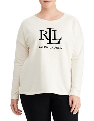 Lauren Ralph Lauren Plus French Terry Sweatshirt-WHITE-1X