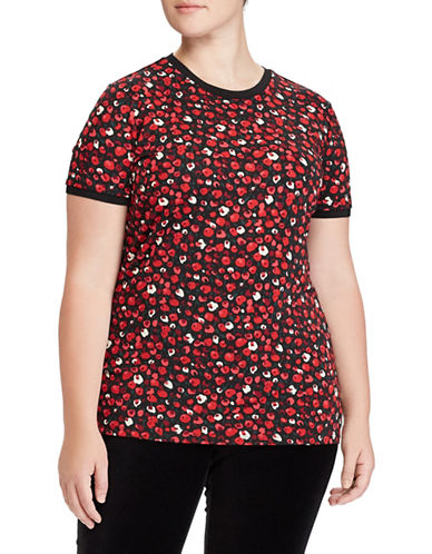 Lauren Ralph Lauren Plus Floral Stretch Jersey Top-RED-1X