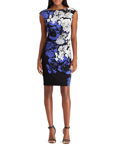 Chaps Floral Jersey Sheath Dress-BLACK/BLUE-Medium