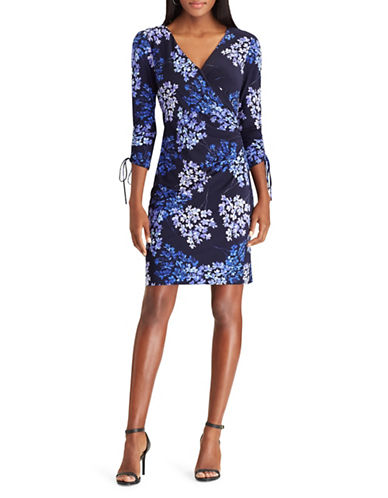Chaps Floral Three-Quarter Sheath Dress-MIDNIGHT-X-Large