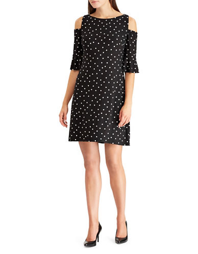 Chaps Dotted Cold-Shoulder Shift Dress-BLACK-X-Small