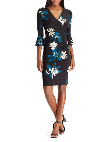 Chaps Ruffle Sleeve Floral Sheath Dress-BLACK MULTI-Large