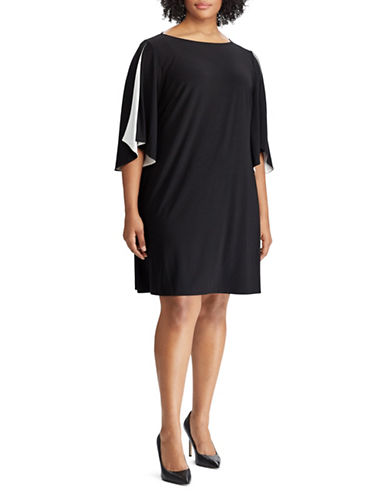 Chaps Two-Tone Jersey Dress-BLACK-18W