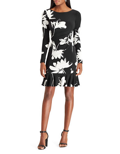 Chaps Floral Jersey Sheath Dress-BLACK/WHITE-Large