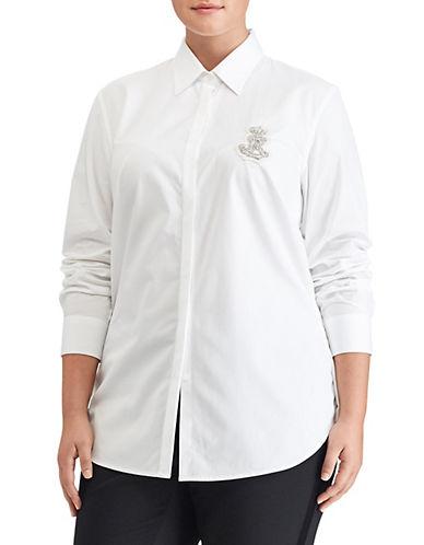 Lauren Ralph Lauren Plus Cotton Poplin Shirt-WHITE-1X