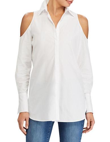 Lauren Ralph Lauren Shoulder Cut-Out Cotton Shirt-WHITE-X-Large