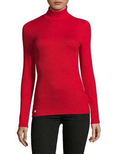 Lauren Ralph Lauren Turtleneck Long Sleeve Top-RED-Large