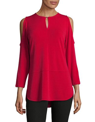 Lauren Ralph Lauren Cold-Shoulder Blouse-RED-Large