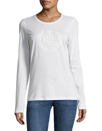 Lauren Ralph Lauren Long Sleeve Embroidered Logo Tee-WHITE-X-Large