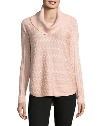 Lauren Ralph Lauren Vented Cotton-Blend Knit Sweater-PINK-X-Large