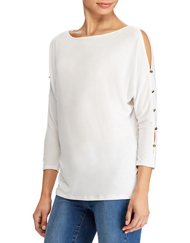 Lauren Ralph Lauren Button Sleeve Jersey Top-WHITE-Large 89716580_WHITE_Large