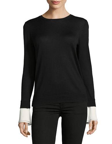 Lauren Ralph Lauren Long Bell Sleeve Top-BLACK-Large