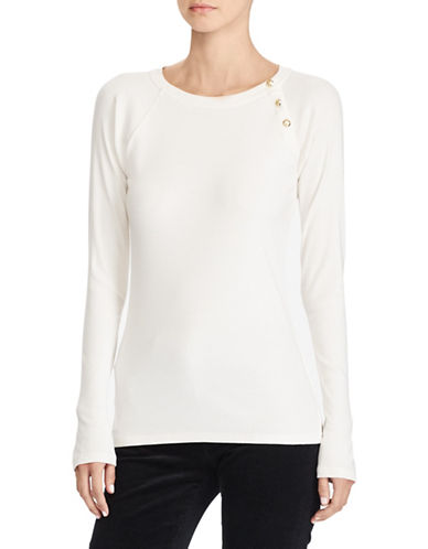 Lauren Ralph Lauren Solid Knit Top-WHITE-X-Small