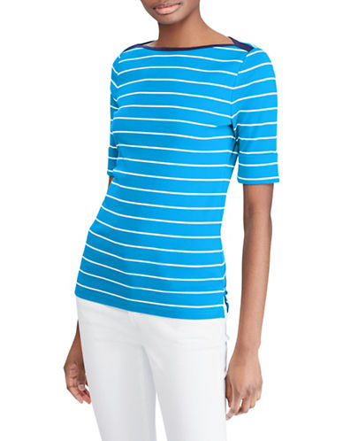 Lauren Ralph Lauren Petite Striped Cotton Boatneck Top-BLUE-Petite Large