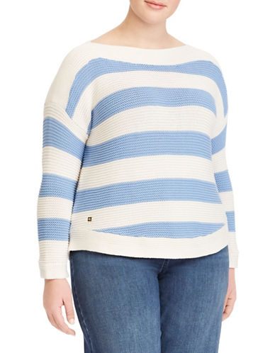 Lauren Ralph Lauren Plus Striped Cotton Boat Neck Sweater 89834960