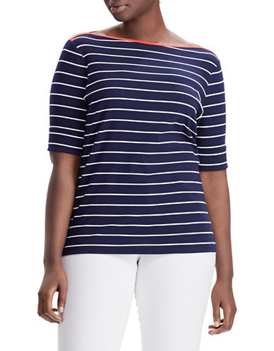 Lauren Ralph Lauren Plus Striped Cotton Boat Neck Top 89834967