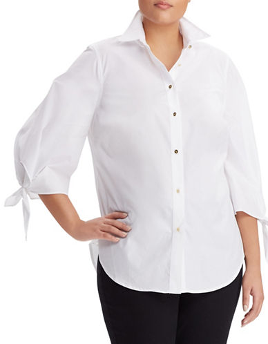 Lauren Ralph Lauren Plus Tie-Sleeve Cotton Shirt-WHITE-1X