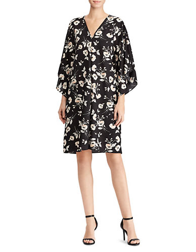 Lauren Ralph Lauren Floral Shift Dress-BLACK-X-Small 89956229_BLACK_X-Small