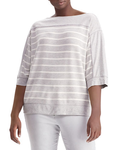 Lauren Ralph Lauren Plus Plus Three-Quarter Flare Sleeve Top-GREY-1X 89857855_GREY_1X