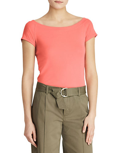 Lauren Ralph Lauren Cap-Sleeve Jersey Top-ORANGE-X-Small 90089331_ORANGE_X-Small