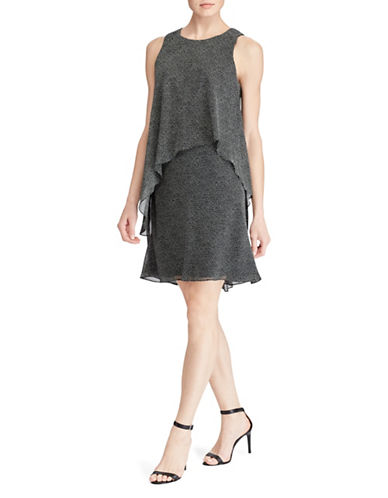 Lauren Ralph Lauren Dot-Print Layered Georgette Dress-GREY-8
