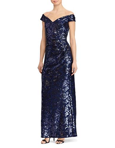 Lauren Ralph Lauren Hickory Off-The-Shoulder Gown 89965259
