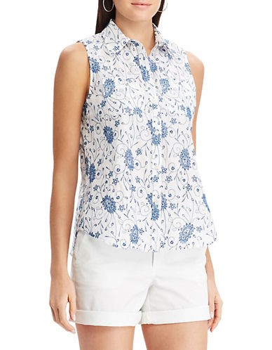 Chaps Floral-Embroidered Cotton Button-Down Shirt 90096450