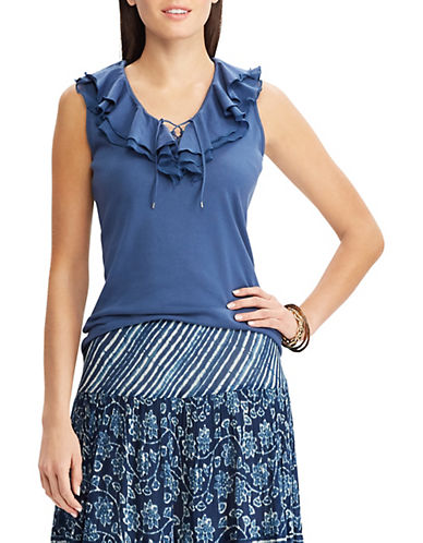 Chaps Ruffled Sleeveless Cotton Top-BLUE-Small 90096750_BLUE_Small