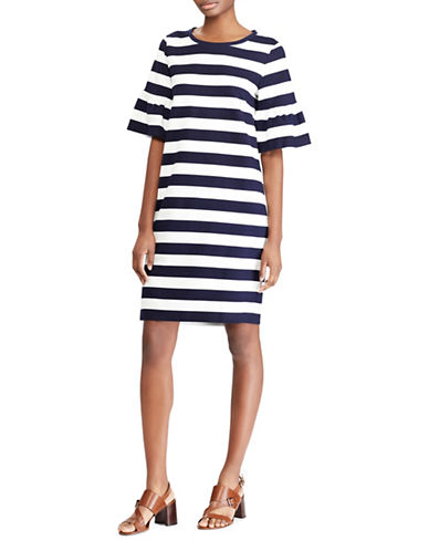 Lauren Ralph Lauren Striped Ponte Shift Dress-NAVY/WHITE-X-Large
