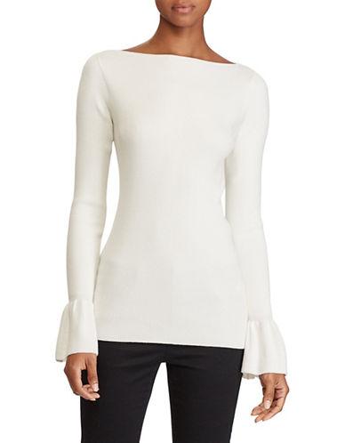 Lauren Ralph Lauren Ruffled Stretch Sweater-NATURAL-Large