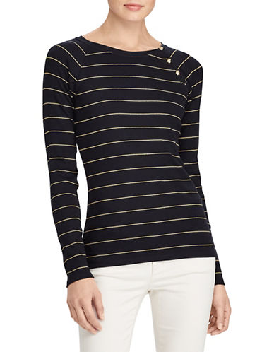Lauren Ralph Lauren Striped Knit Top-BLACK-Large