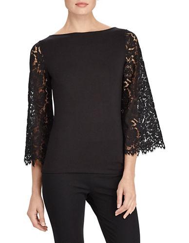 Lauren Ralph Lauren Jersey-Lace Bell-Sleeve Top-BLACK-Medium