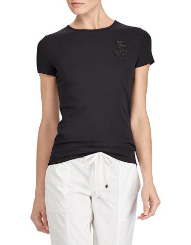 Lauren Ralph Lauren Embellished Stretch Cotton T-Shirt-BLACK-Large 89649646_BLACK_Large