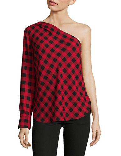 Lauren Ralph Lauren Plaid One-Shoulder Blouse-RED-X-Large