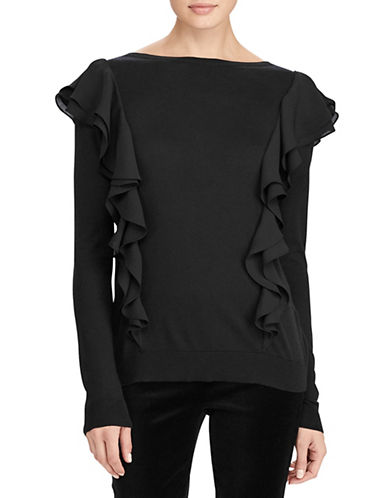 Lauren Ralph Lauren Ruffled Sweater-BLACK-Small