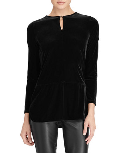 Lauren Ralph Lauren Velvet Cold-Shoulder Top-BLACK-X-Small