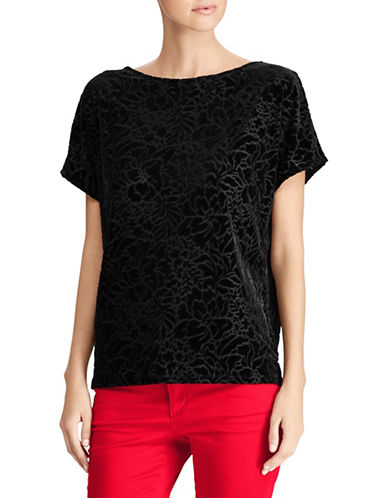 Lauren Ralph Lauren Velvet Floral Top-BLACK-Large