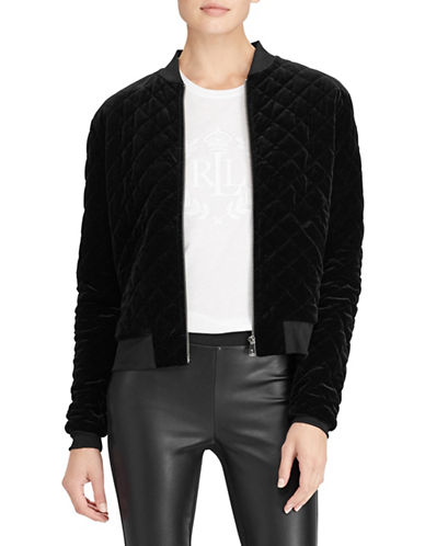 Lauren Ralph Lauren Quilted Velvet Bomber Jacket-BLACK-Medium