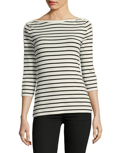 Lauren Ralph Lauren Lace-Up Striped Top-NATURAL-X-Large
