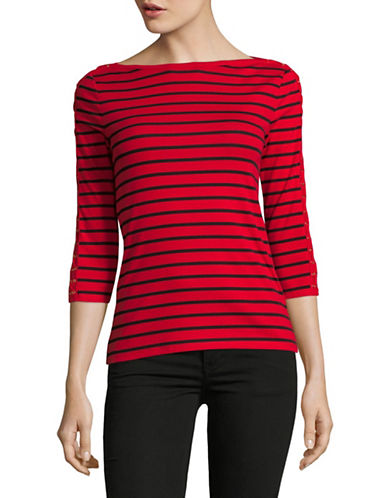 Lauren Ralph Lauren Lace-Up Striped Top-RED-Large