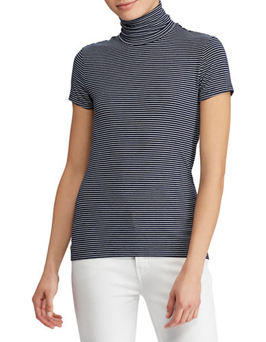 Lauren Ralph Lauren Jersey Short-Sleeve Turtleneck Top-NAVY/WHITE-X-Large