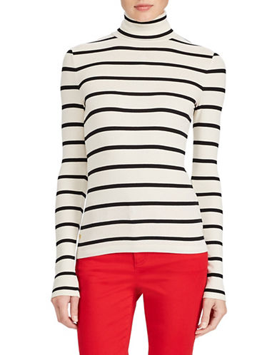 Lauren Ralph Lauren Petite Turtleneck Long Sleeve Top-WHITE-Petite Large