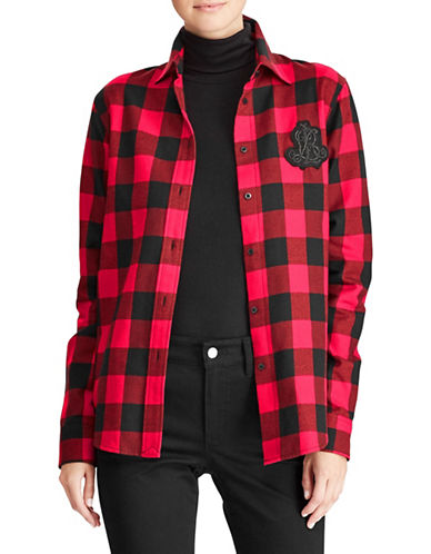 Lauren Ralph Lauren Petite Buffalo Plaid Button-Up Shirt-RED-Petite Large