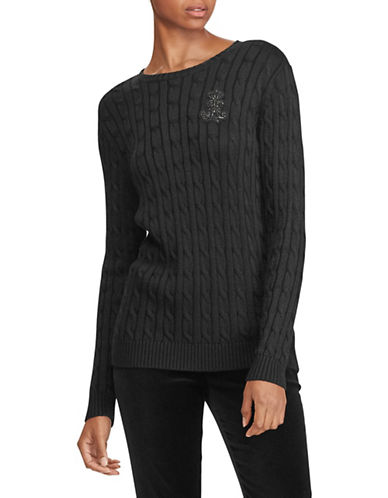 Lauren Ralph Lauren Petite Embroidered Cable-Knit Sweater-BLACK-Petite Medium